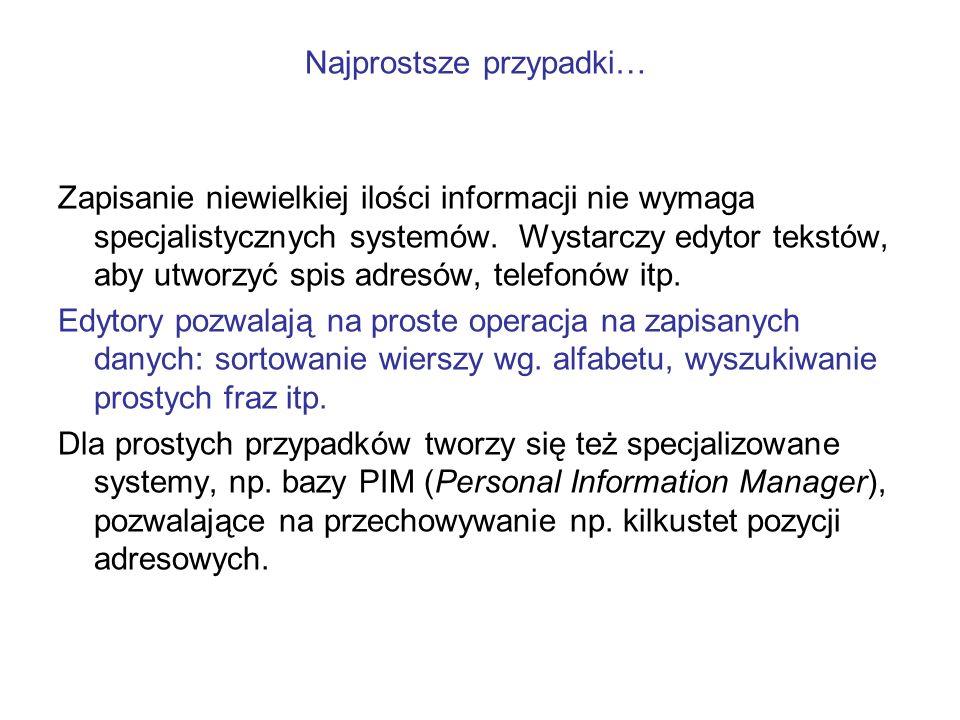 Zapisanie niewielkiej ilości informacji nie wymaga specjalistycznych systemów. Wystarczy edytor tekstów, aby utworzyć spis adresów, telefonów itp. Edy
