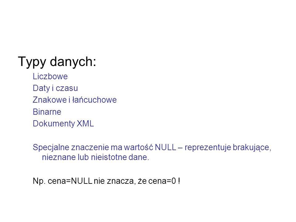 Typy danych: Liczbowe Daty i czasu Znakowe i łańcuchowe Binarne Dokumenty XML Specjalne znaczenie ma wartość NULL – reprezentuje brakujące, nieznane l