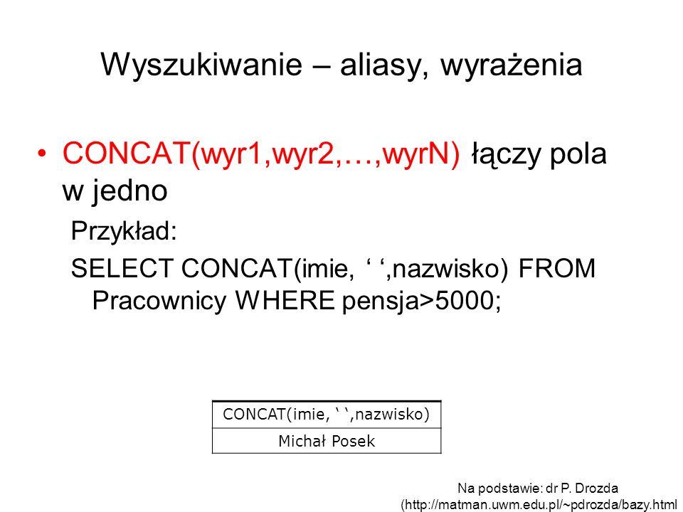 Wyszukiwanie – aliasy, wyrażenia CONCAT(wyr1,wyr2,…,wyrN) łączy pola w jedno Przykład: SELECT CONCAT(imie,,nazwisko) FROM Pracownicy WHERE pensja>5000