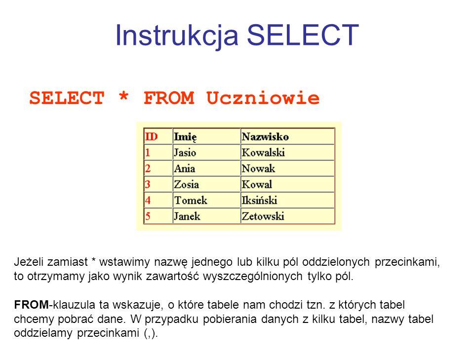 Instrukcja SELECT SELECT * FROM Uczniowie Jeżeli zamiast * wstawimy nazwę jednego lub kilku pól oddzielonych przecinkami, to otrzymamy jako wynik zawa