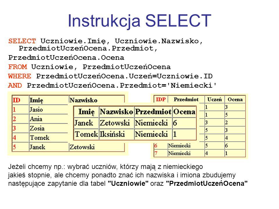 Instrukcja SELECT SELECT Uczniowie.Imię, Uczniowie.Nazwisko, PrzedmiotUczeńOcena.Przedmiot, PrzedmiotUczeńOcena.Ocena FROM Uczniowie, PrzedmiotUczeńOc