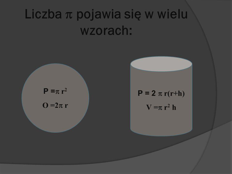 Liczba pojawia się w wielu wzorach: P = r 2 O =2 r P = 2 r(r+h) V = r 2 h