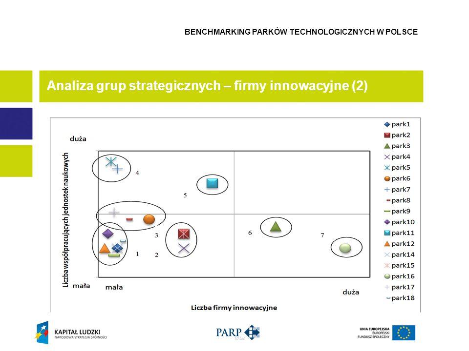 Analiza grup strategicznych – firmy innowacyjne (2) BENCHMARKING PARKÓW TECHNOLOGICZNYCH W POLSCE