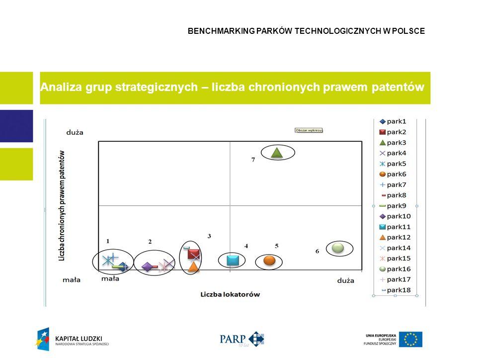 Analiza grup strategicznych – liczba chronionych prawem patentów BENCHMARKING PARKÓW TECHNOLOGICZNYCH W POLSCE