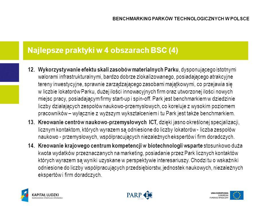 12. Wykorzystywanie efektu skali zasobów materialnych Parku, dysponującego istotnymi walorami infrastrukturalnymi, bardzo dobrze zlokalizowanego, posi