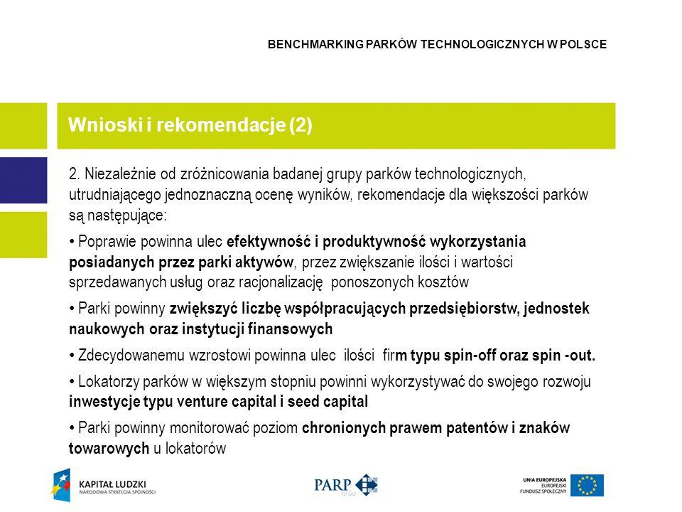 2. Niezależnie od zróżnicowania badanej grupy parków technologicznych, utrudniającego jednoznaczną ocenę wyników, rekomendacje dla większości parków s