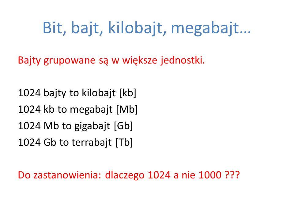 Bit, bajt, kilobajt, megabajt… Bajty grupowane są w większe jednostki. 1024 bajty to kilobajt [kb] 1024 kb to megabajt [Mb] 1024 Mb to gigabajt [Gb] 1