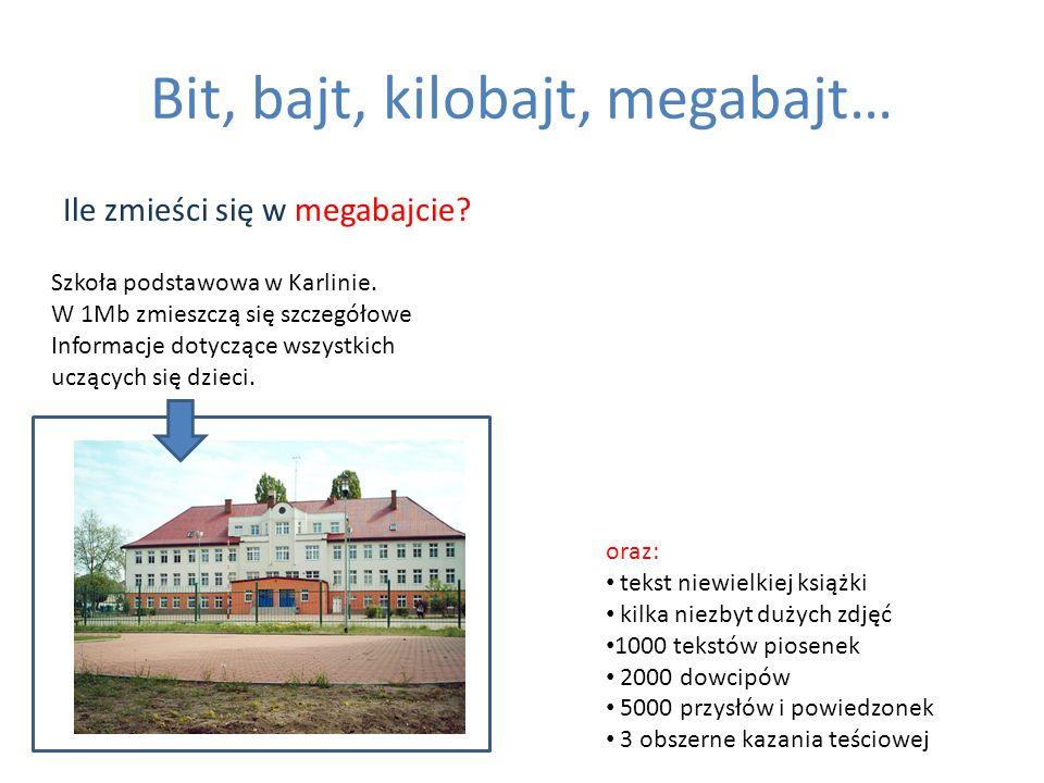 Bit, bajt, kilobajt, megabajt… Ile zmieści się w megabajcie? Szkoła podstawowa w Karlinie. W 1Mb zmieszczą się szczegółowe Informacje dotyczące wszyst