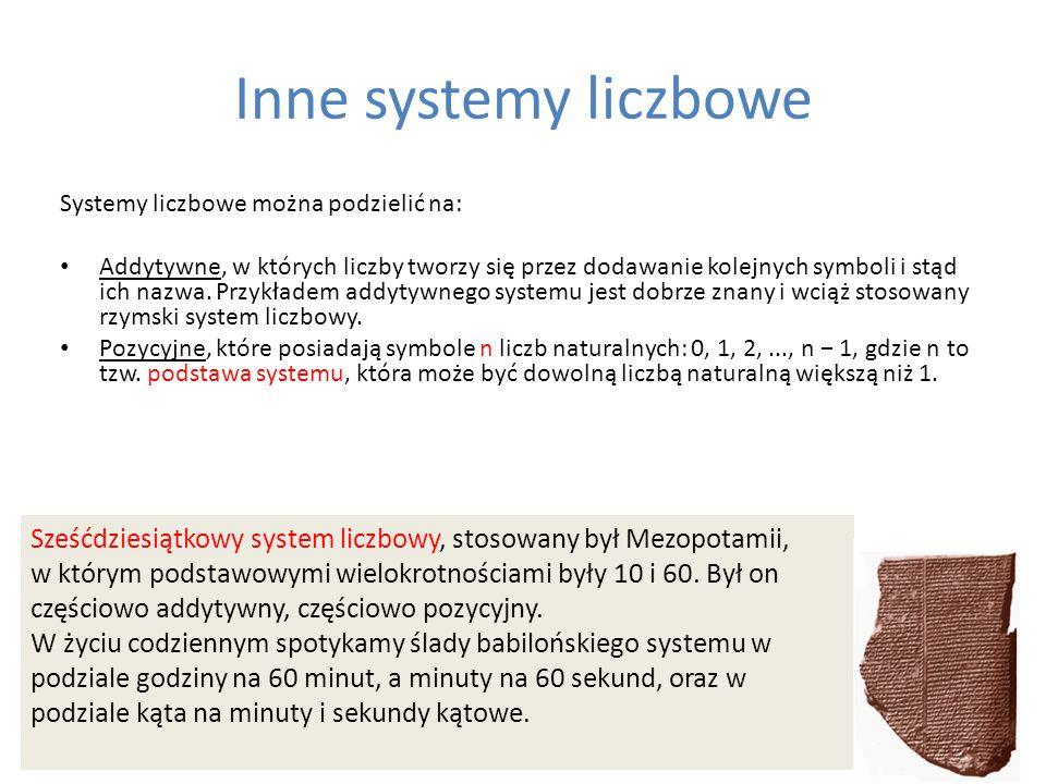Inne systemy liczbowe Systemy liczbowe można podzielić na: Addytywne, w których liczby tworzy się przez dodawanie kolejnych symboli i stąd ich nazwa.