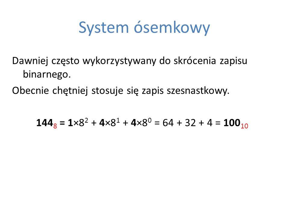 System ósemkowy Dawniej często wykorzystywany do skrócenia zapisu binarnego. Obecnie chętniej stosuje się zapis szesnastkowy. 144 8 = 1×8 2 + 4×8 1 +