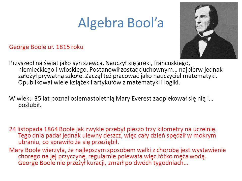 Algebra Boola George Boole ur. 1815 roku Przyszedł na świat jako syn szewca. Nauczył się greki, francuskiego, niemieckiego i włoskiego. Postanowił zos
