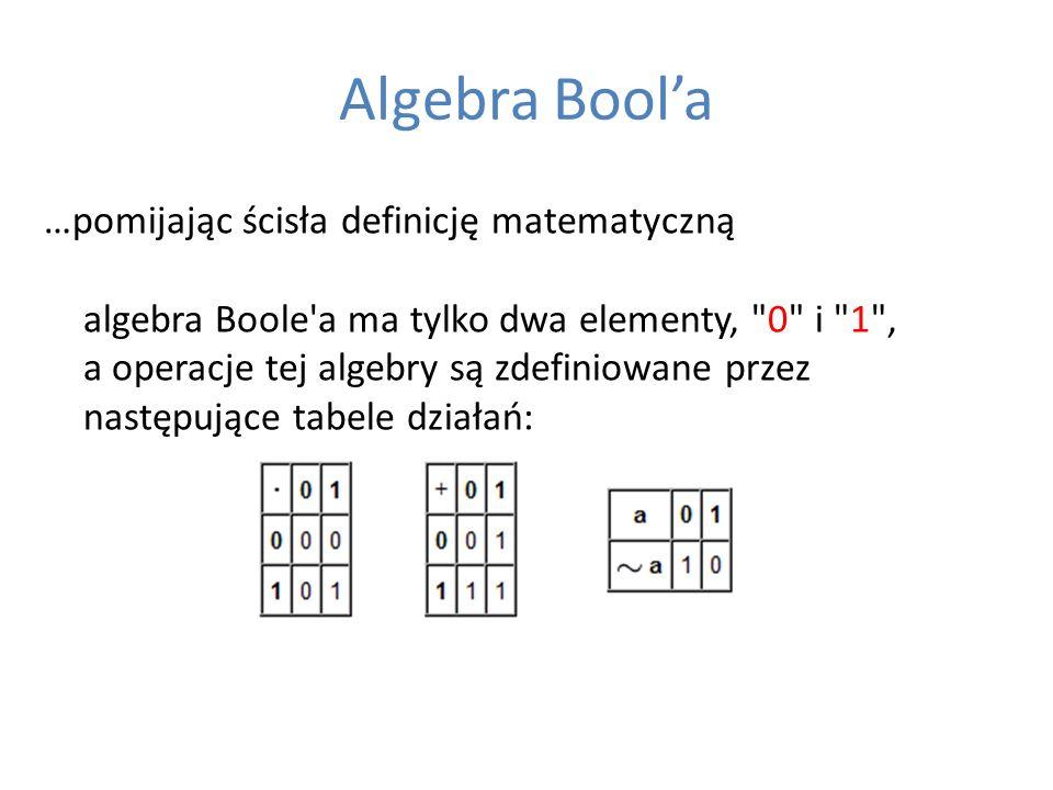 Algebra Boola …pomijając ścisła definicję matematyczną algebra Boole'a ma tylko dwa elementy,