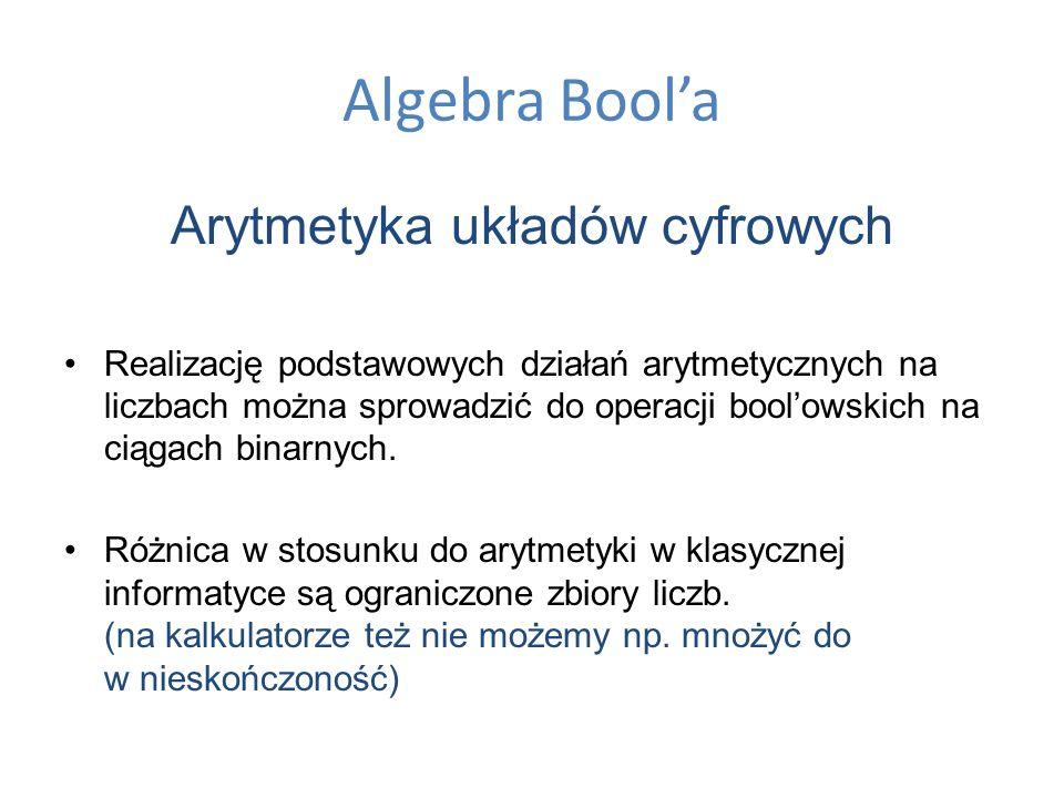 Algebra Boola Arytmetyka układów cyfrowych Realizację podstawowych działań arytmetycznych na liczbach można sprowadzić do operacji boolowskich na ciąg