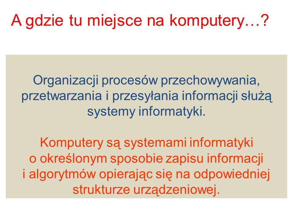 A gdzie tu miejsce na komputery…? Organizacji procesów przechowywania, przetwarzania i przesyłania informacji służą systemy informatyki. Komputery są