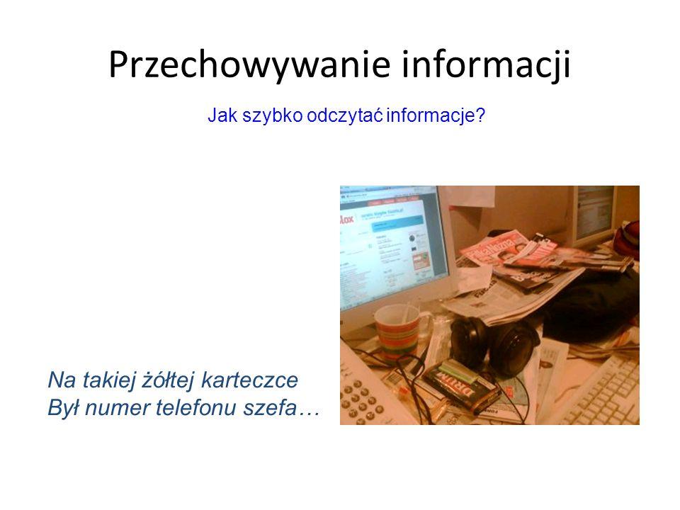 Przechowywanie informacji Na takiej żółtej karteczce Był numer telefonu szefa… Jak szybko odczytać informacje?