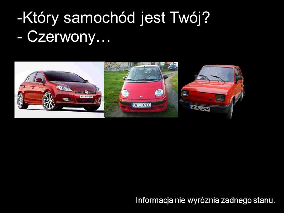 -Który samochód jest Twój? - Czerwony… Informacja nie wyróżnia żadnego stanu.