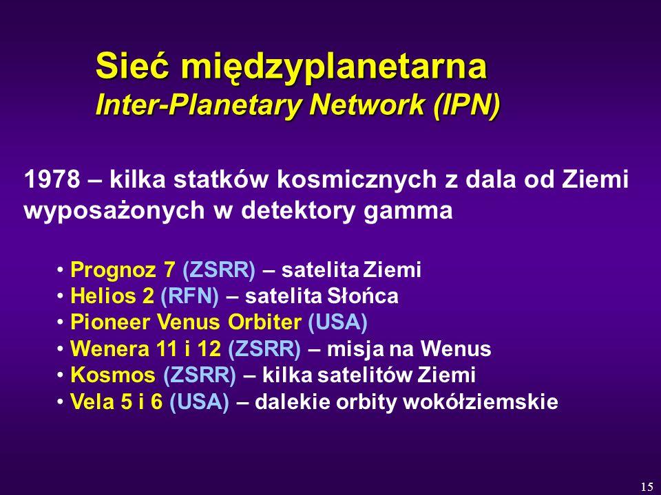 15 Sieć międzyplanetarna Inter-Planetary Network (IPN) 1978 – kilka statków kosmicznych z dala od Ziemi wyposażonych w detektory gamma Prognoz 7 (ZSRR