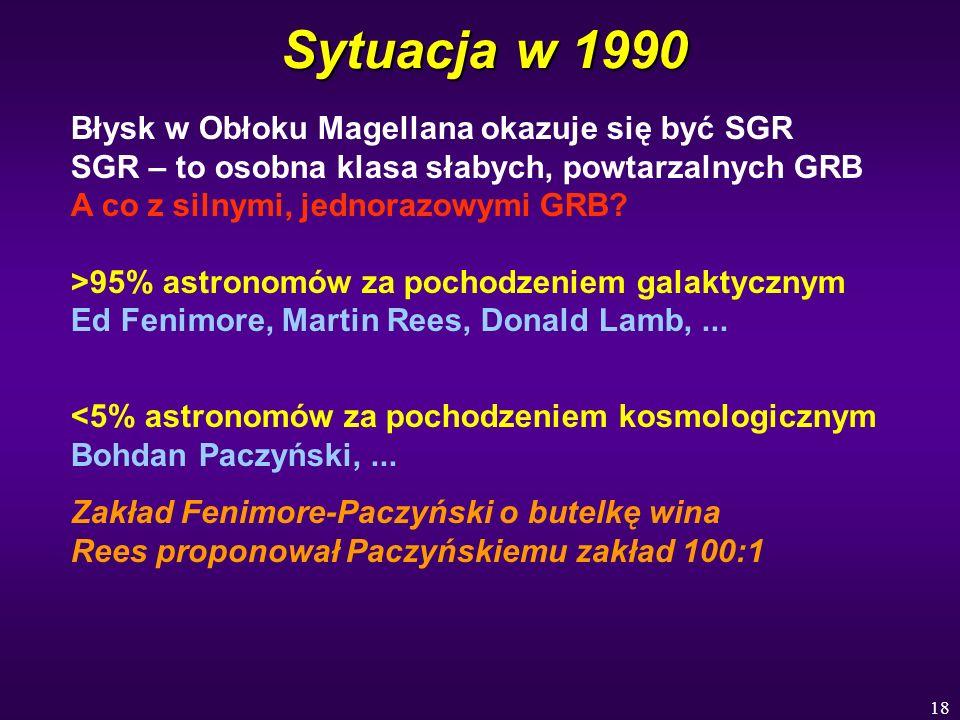 18 Sytuacja w 1990 Błysk w Obłoku Magellana okazuje się być SGR SGR – to osobna klasa słabych, powtarzalnych GRB A co z silnymi, jednorazowymi GRB? >9