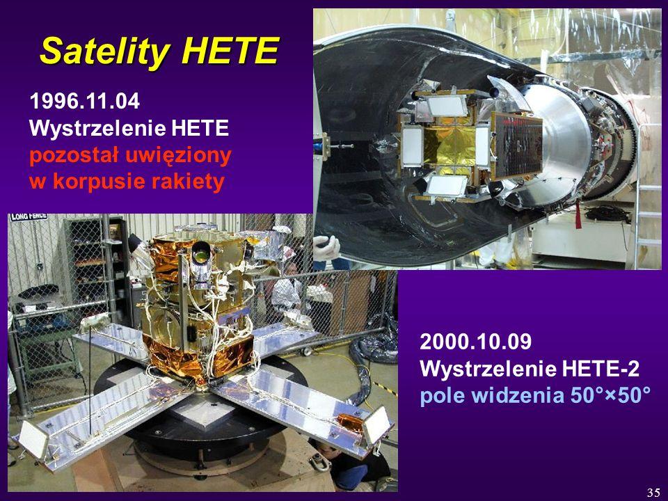 35 Satelity HETE 1996.11.04 Wystrzelenie HETE pozostał uwięziony w korpusie rakiety 2000.10.09 Wystrzelenie HETE-2 pole widzenia 50°×50°