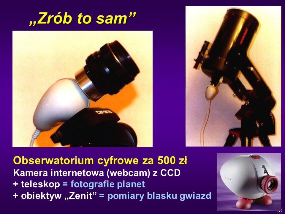 48 Zrób to sam Obserwatorium cyfrowe za 500 zł Kamera internetowa (webcam) z CCD + teleskop = fotografie planet + obiektyw Zenit = pomiary blasku gwia