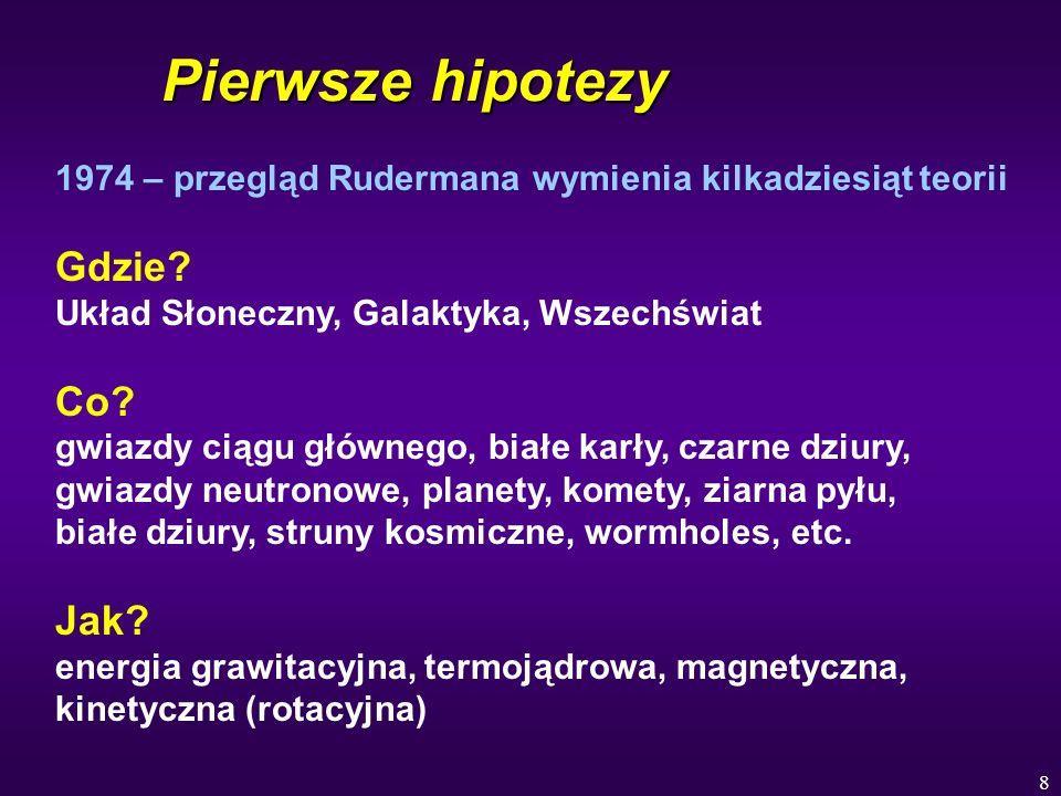 8 Pierwsze hipotezy 1974 – przegląd Rudermana wymienia kilkadziesiąt teorii Gdzie? Układ Słoneczny, Galaktyka, Wszechświat Co? gwiazdy ciągu głównego,