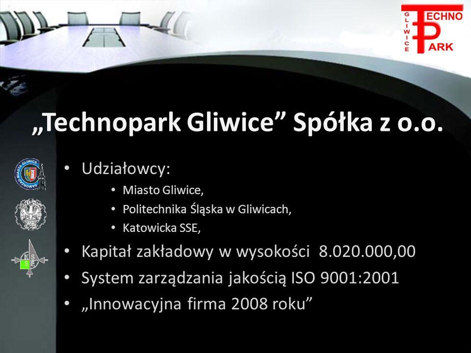 Technopark Gliwice Spółka z o.o. Udziałowcy: Udziałowcy: Miasto Gliwice, Miasto Gliwice, Politechnika Śląska w Gliwicach, Politechnika Śląska w Gliwic