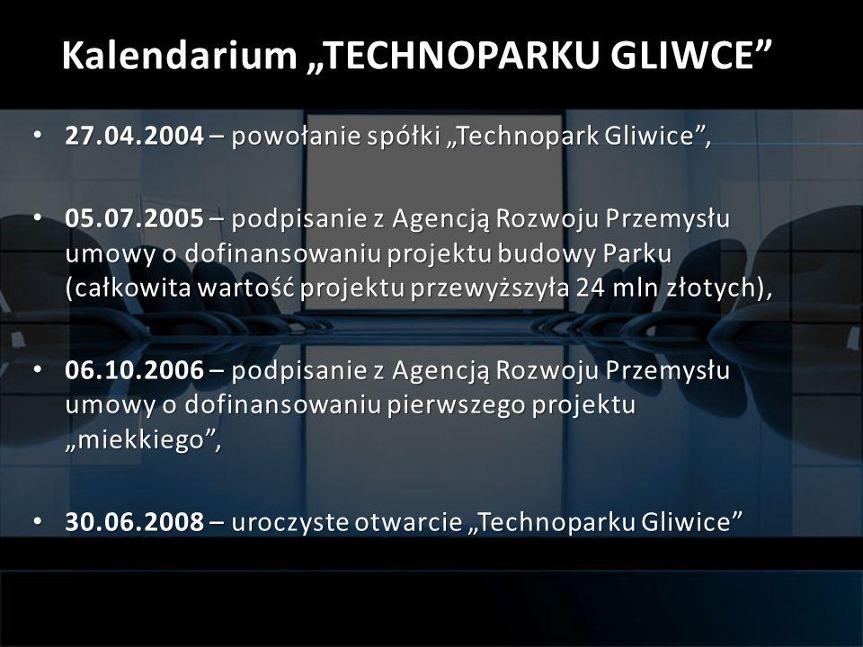 Kalendarium TECHNOPARKU GLIWCE 27.04.2004 – powołanie spółki Technopark Gliwice, 27.04.2004 – powołanie spółki Technopark Gliwice, 05.07.2005 – podpis