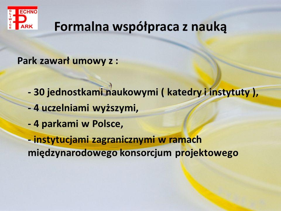 Formalna współpraca z nauką Park zawarł umowy z : - 30 jednostkami naukowymi ( katedry i instytuty ), - 4 uczelniami wyższymi, - 4 parkami w Polsce, -
