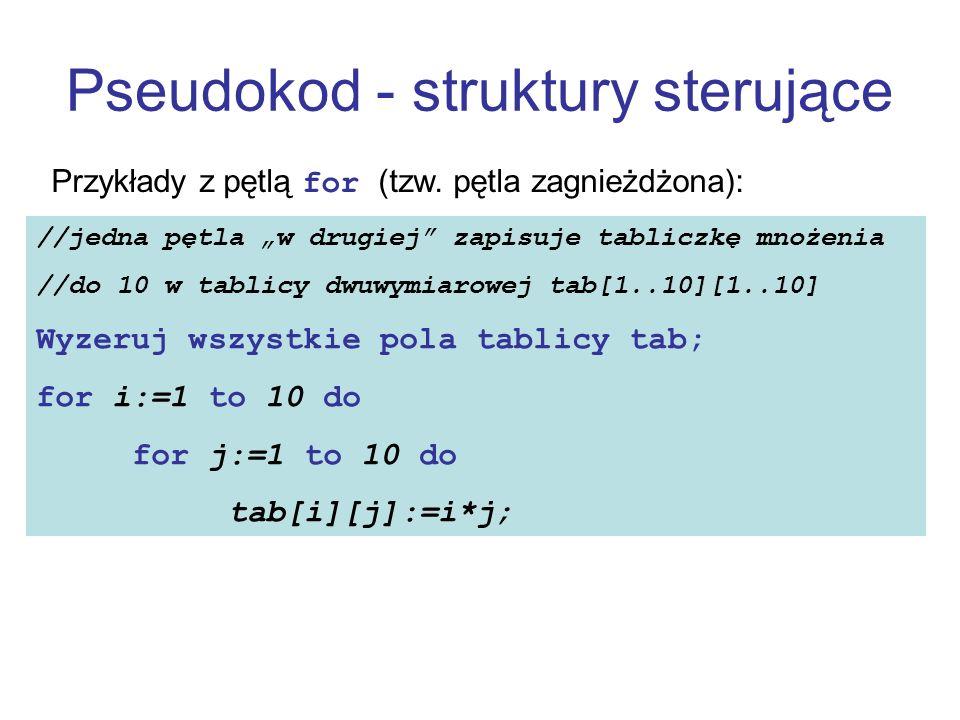 Pseudokod - struktury sterujące Przykłady z pętlą for (tzw. pętla zagnieżdżona): //jedna pętla w drugiej zapisuje tabliczkę mnożenia //do 10 w tablicy