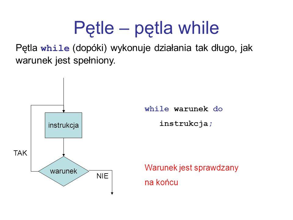 Pętle – pętla while Pętla while (dopóki) wykonuje działania tak długo, jak warunek jest spełniony. warunek instrukcja NIE TAK while warunek do instruk