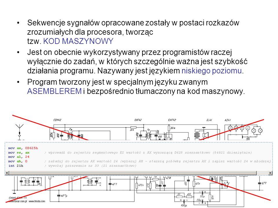 Sekwencje sygnałów opracowane zostały w postaci rozkazów zrozumiałych dla procesora, tworząc tzw. KOD MASZYNOWY Jest on obecnie wykorzystywany przez p