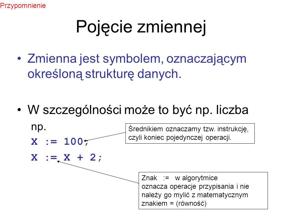 Określanie zmiennych i ich typów - przykłady Pascal: var a : integer; begin a := 10; a := a*15; writeln(a); end.