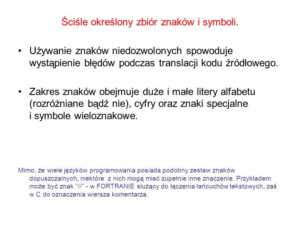 Ściśle określony zbiór znaków i symboli. Używanie znaków niedozwolonych spowoduje wystąpienie błędów podczas translacji kodu źródłowego. Zakres znaków