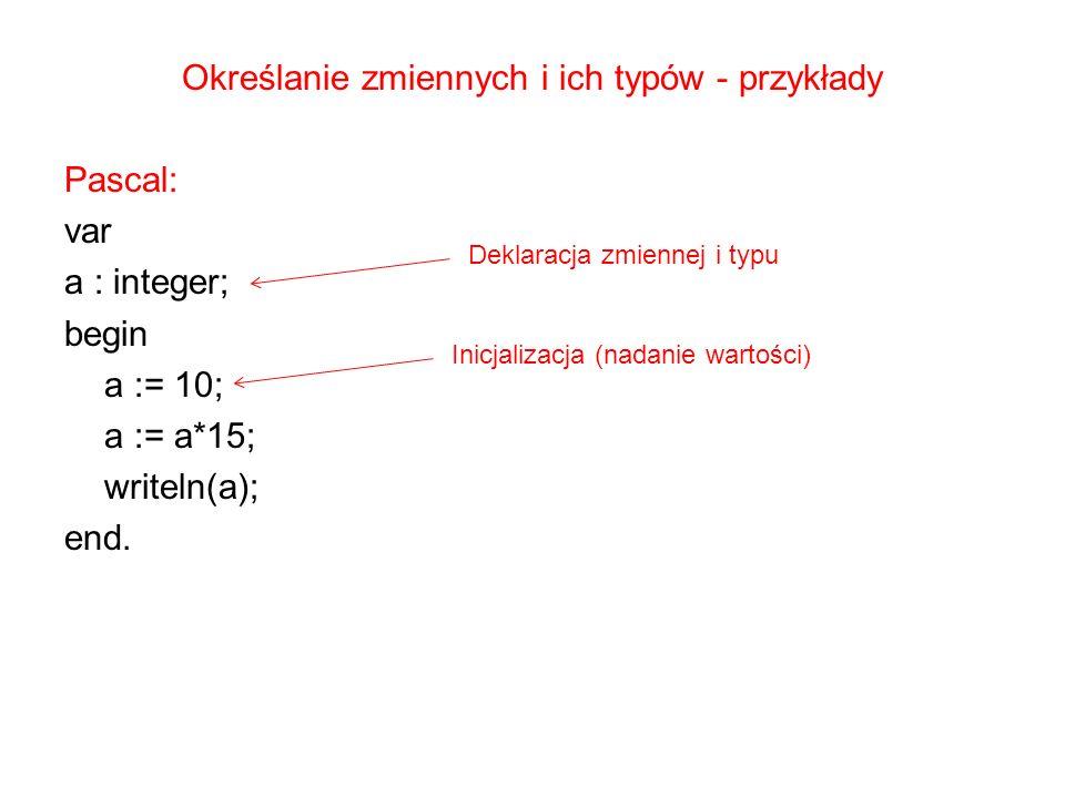 Określanie zmiennych i ich typów - przykłady Pascal: var a : integer; begin a := 10; a := a*15; writeln(a); end. Deklaracja zmiennej i typu Inicjaliza