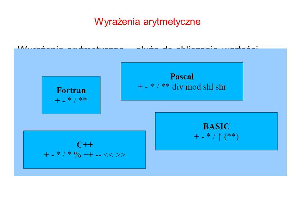 Wyrażenia arytmetyczne Wyrażenia arytmetyczne – służą do obliczania wartości zmiennych liczbowych. W wyrażeniach arytmetycznych mogą wystąpić następuj