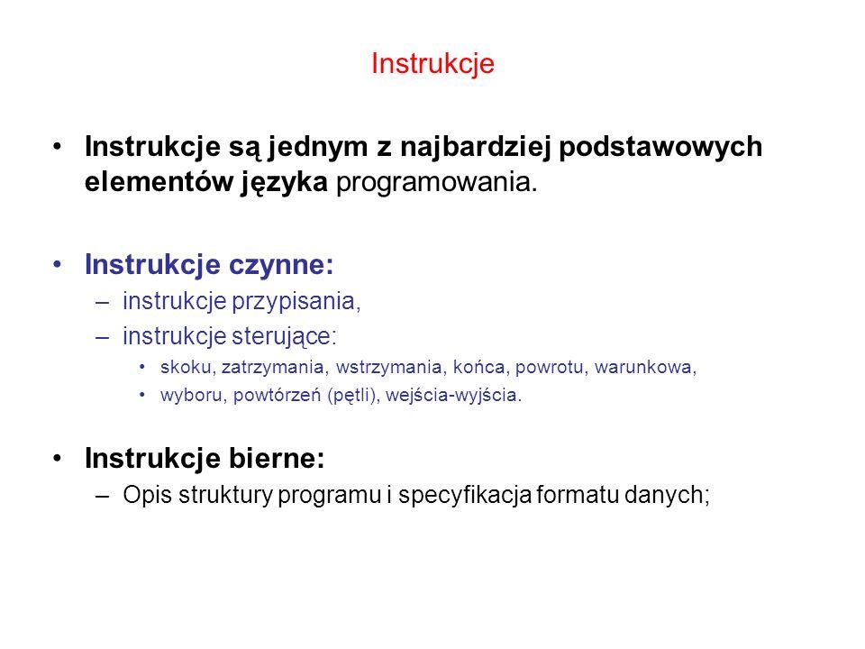 Instrukcje Instrukcje są jednym z najbardziej podstawowych elementów języka programowania. Instrukcje czynne: –instrukcje przypisania, –instrukcje ste
