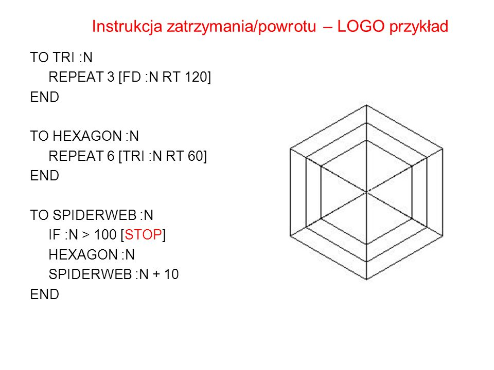 TO TRI :N REPEAT 3 [FD :N RT 120] END TO HEXAGON :N REPEAT 6 [TRI :N RT 60] END TO SPIDERWEB :N IF :N > 100 [STOP] HEXAGON :N SPIDERWEB :N + 10 END In