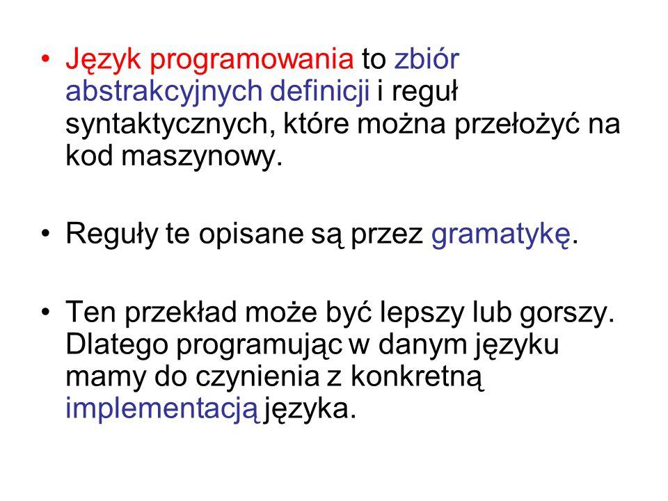 Język programowania to zbiór abstrakcyjnych definicji i reguł syntaktycznych, które można przełożyć na kod maszynowy. Reguły te opisane są przez grama
