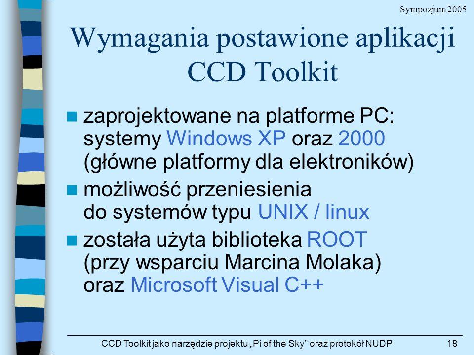 Sympozjum 2005 CCD Toolkit jako narzędzie projektu Pi of the Sky oraz protokół NUDP18 Wymagania postawione aplikacji CCD Toolkit zaprojektowane na pla