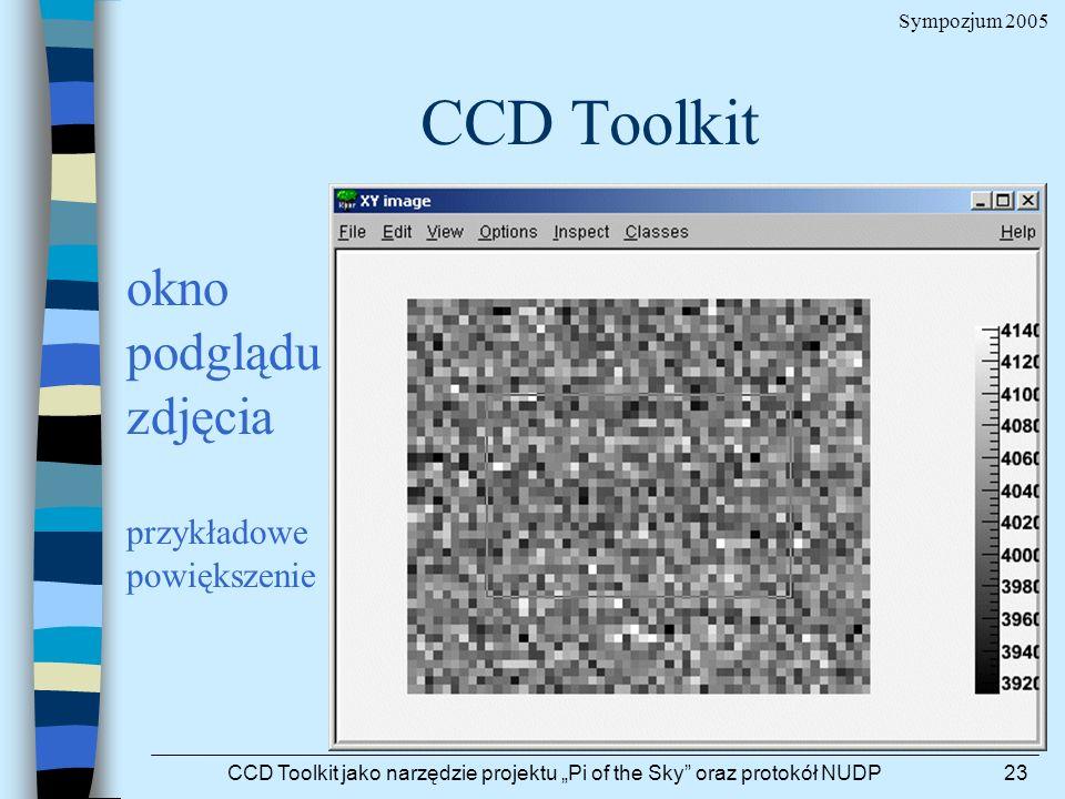 Sympozjum 2005 CCD Toolkit jako narzędzie projektu Pi of the Sky oraz protokół NUDP23 CCD Toolkit okno podglądu zdjęcia przykładowe powiększenie