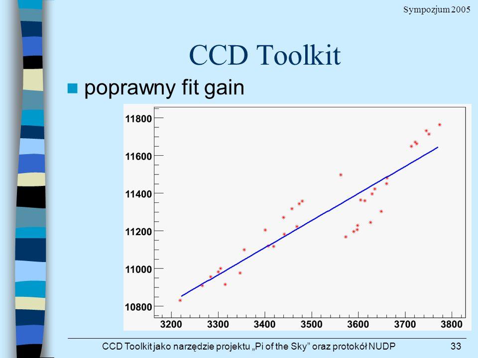 Sympozjum 2005 CCD Toolkit jako narzędzie projektu Pi of the Sky oraz protokół NUDP33 CCD Toolkit poprawny fit gain