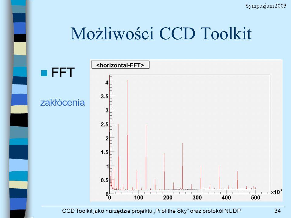 Sympozjum 2005 CCD Toolkit jako narzędzie projektu Pi of the Sky oraz protokół NUDP34 Możliwości CCD Toolkit FFT zakłócenia