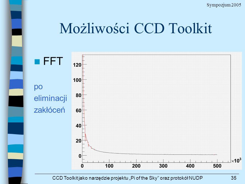 Sympozjum 2005 CCD Toolkit jako narzędzie projektu Pi of the Sky oraz protokół NUDP35 Możliwości CCD Toolkit FFT po eliminacji zakłóceń