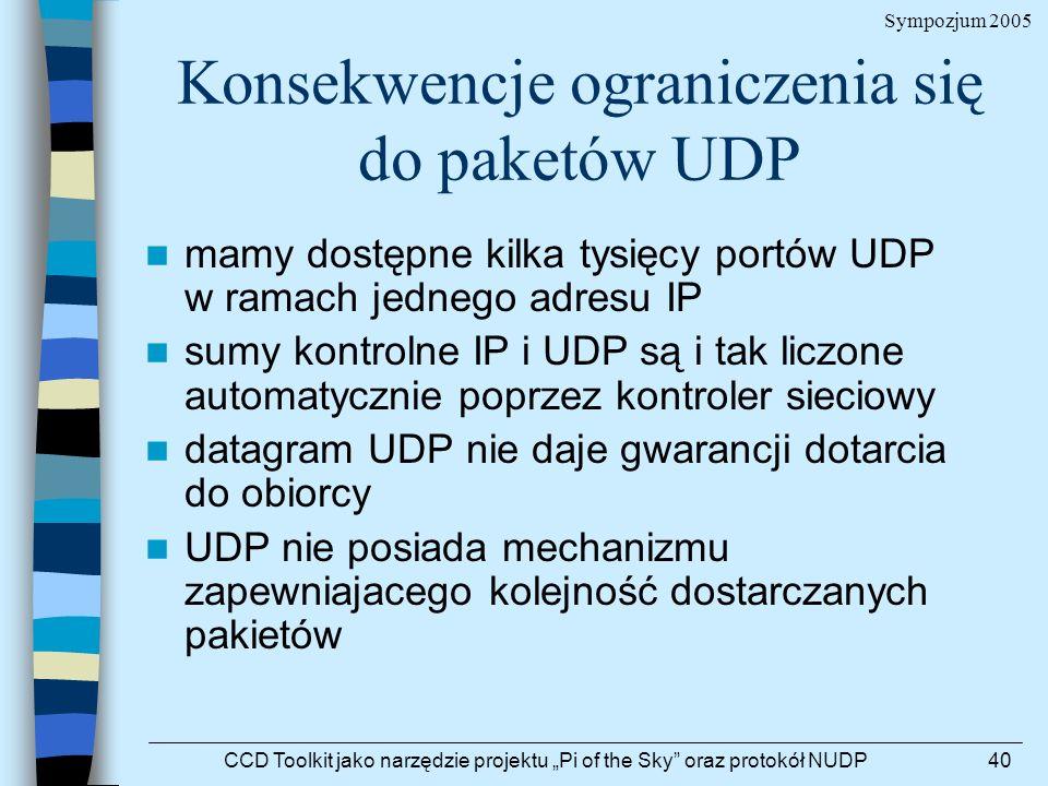 Sympozjum 2005 CCD Toolkit jako narzędzie projektu Pi of the Sky oraz protokół NUDP40 Konsekwencje ograniczenia się do paketów UDP mamy dostępne kilka