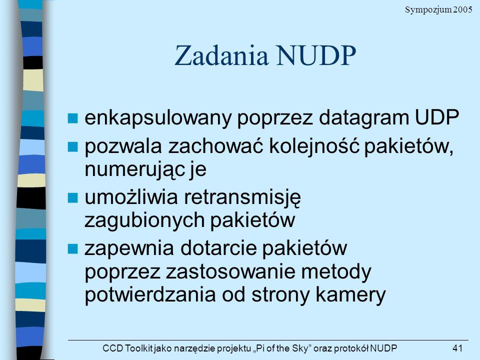Sympozjum 2005 CCD Toolkit jako narzędzie projektu Pi of the Sky oraz protokół NUDP41 Zadania NUDP enkapsulowany poprzez datagram UDP pozwala zachować