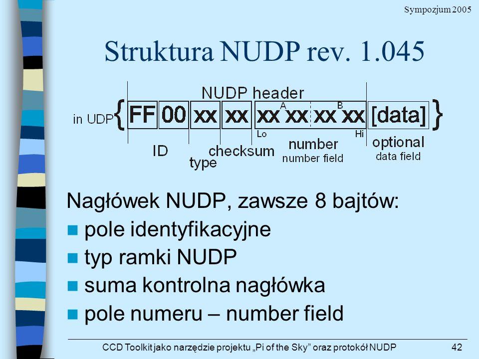 Sympozjum 2005 CCD Toolkit jako narzędzie projektu Pi of the Sky oraz protokół NUDP42 Struktura NUDP rev. 1.045 Nagłówek NUDP, zawsze 8 bajtów: pole i