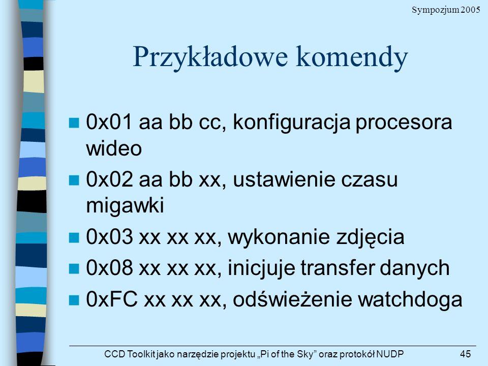 Sympozjum 2005 CCD Toolkit jako narzędzie projektu Pi of the Sky oraz protokół NUDP45 Przykładowe komendy 0x01 aa bb cc, konfiguracja procesora wideo
