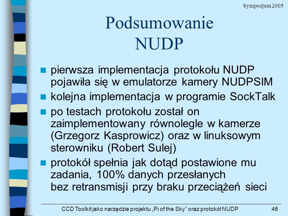 Sympozjum 2005 CCD Toolkit jako narzędzie projektu Pi of the Sky oraz protokół NUDP46 Podsumowanie NUDP pierwsza implementacja protokołu NUDP pojawiła