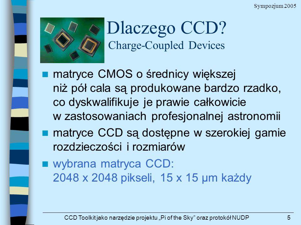 Sympozjum 2005 CCD Toolkit jako narzędzie projektu Pi of the Sky oraz protokół NUDP5 Dlaczego CCD? Charge-Coupled Devices matryce CMOS o średnicy więk