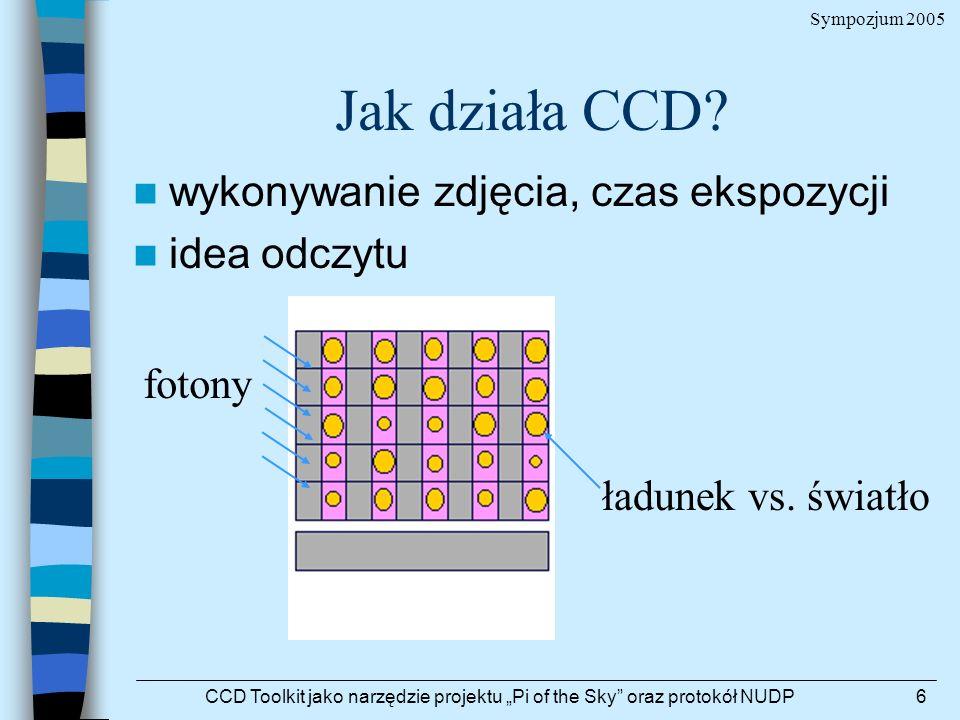 Sympozjum 2005 CCD Toolkit jako narzędzie projektu Pi of the Sky oraz protokół NUDP6 Jak działa CCD? ładunek vs. światło fotony wykonywanie zdjęcia, c